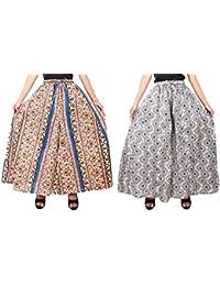 Fashion Store Women's Cotton Stylish Printed Full Flair Multi-Colored Plazo (Free Size, Set Of 2) - B0774HC9TT