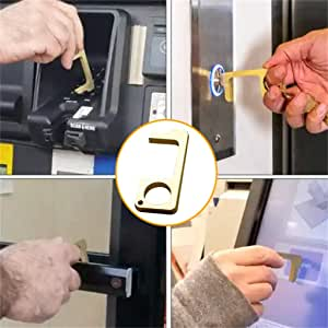 NewPointer Hand Brass Door Opener Closer No-Touch Press Elevator Hand Stick Health Protection Personalized Keychain Keep Hands Clean