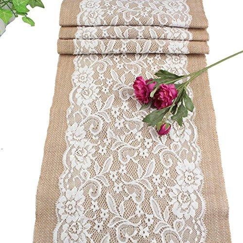 PsmGoods® Rustic Burlap Spitze Hessischen Tischläufer Natürliche Jute für Hochzeit Festival-Ereignis Tischdekoration 30x108cm-weiße Spitze