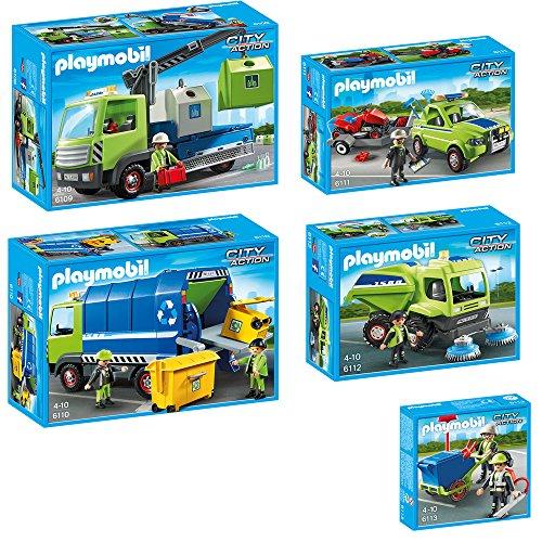 Preisvergleich Produktbild PLAYMOBIL City Action 5-teiliges Set 6109 6110 6111 6112 6113 Altglas-LKW mit...