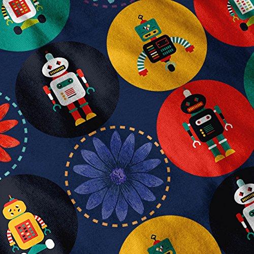 Roboter Niedlich Muster Geek Farbe Funk Damen Schwarz S-2XL Muskelshirt | Wellcoda Marine