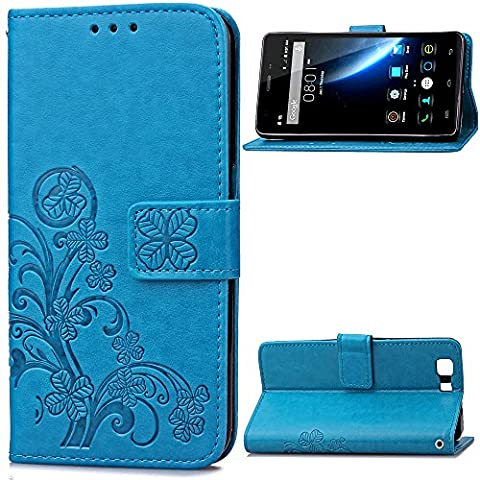 Doogee X5 X5C X5 PRO X5S Case Leather, Ecoway Clover embossed Patterned PU Leather Stand Function Protective Cases Covers with Card Slot Holder Wallet Book Design Folio Magnetic Flip Stand Feature for Doogee X5 X5C X5 PRO X5S - Four Leaf