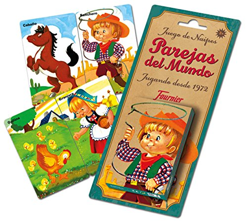 "Spanish ""Old Maid"" Kids Game Playing Cards by Fournier - Juego de Naipes Infantiles Parejas del Mundo"