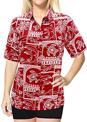 La Leela Blusen Knopf Tragen Hawaiihemd Frauen Strand bis Kurzen Ärmeln Badeanzug Schwarz Rot