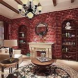 Wallpaper3D Stereo Simulation Ziegel, Nonwovens Wallpaper, Wohnzimmer, Schlafzimmer, Restaurant, Restaurant, voll von Wandfliesen, weißer Backstein und Red Brick.