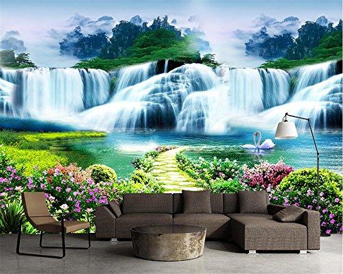 Qinmon 3D Wandbild Tapete Dekoration Wandtattoo Costom Blumen Baum Pfad Wasserfall Landschaft Landschaft Kunst Leben Kinder Wand-Aufkleber Wohnzimmer Schlafzimmer 150Cmx100Cm