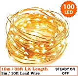 Fairy Lights 100 Micro LED Indoor Outdoor ChristmasFairy Lights String Lights 10m / 33 Ft Copper Cable - Mains Operated LED Fairy Lights - Ideal for Christmas Tree Festive Party Decorations