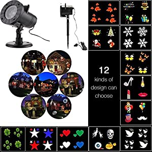 Xmas Decorative Projector Lights Outdoor, ONEVER Led Christmas Landscape Lightings Waterproof, 12 Replaceable Pattern Slides for Christmas Halloween Birthday Wedding Parties by ONEVER