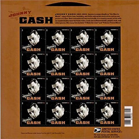 Johnny Cash Stamp sheet of 16 x Forever U.S. Postage Stamps New Mint by N/A