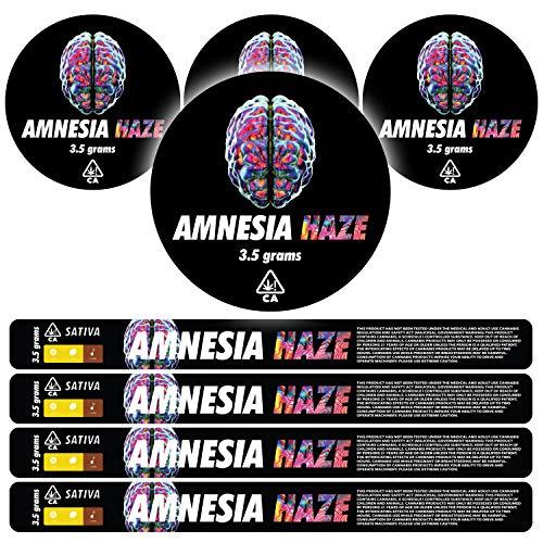 100ml Pressitin Stickers - Lid and Label - 3 5g Cali Press Tin Stickers -  Amnesia Haze x60