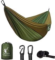 Fieleer Ultraleicht Outdoor Hängematte aus Fallschirmseide | mit Extra Starken Gurten & Karabinern | Für Reise Camping Trekking Garten Strand Travel-Hammock