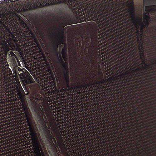 Piquadro PQ7 Sac avec 2 pochettes sur le devant et fermeture Éclair + pochette pour lecteur MP3 cioccolato