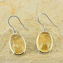 Orecchini D?Orecchie ovali Oliven pietra naturale e Argento 925–citrino