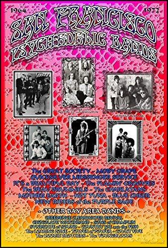 Carl Lundgren Kunst San Francisco Bands Poster 48,3x 33cm Bereit für Display, Lieferung Flach, Beutel und Bord von Grande Ballsaal Poster Künstler Carl Lundgren Bedruckt in Detroit Mi USA -