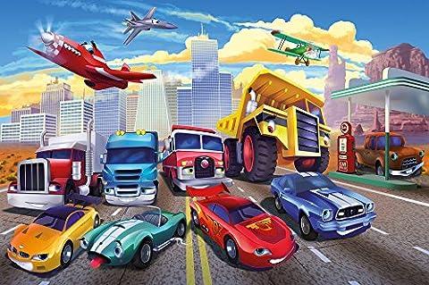 Papier peint photo pour chambre denfant avec voitures et avions