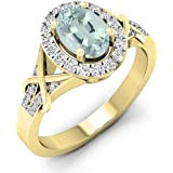 Anillo de compromiso de oro de 10quilates con aguamarina de corte ovalado y diamante de corte redondo