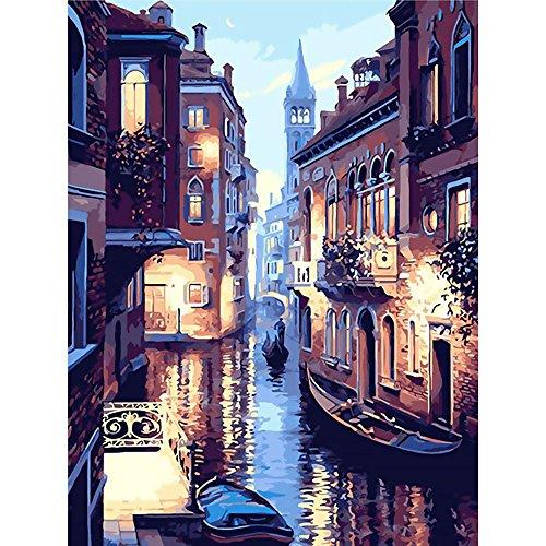 Mmrm Hauptdekor Segeltuch Wanddekoration Malerei Farbe durch Zahl Installationssatz Ölgemälde DIY Venedig Nacht kein Rahmen