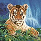 Diamant Stickerei Set 3d Tiger König des Dschungels 5d Diamant Painting Abnehmbare Wandtattoo Diamond Painting Malerei Stickerei Gemälde Strass Eingefügt DIY Diamant Kinder (Gelb)