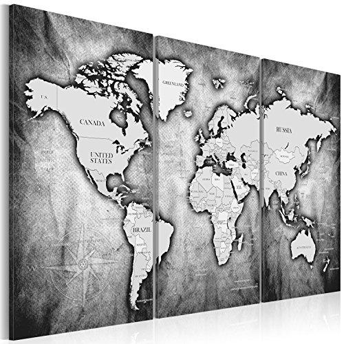 murando - Cuadro en Lienzo 90x60 cm - Mapa del Mundo -Impresión de 3 Piezas Material Tejido no Tejido Impresión Artística Imagen Gráfica Decoracion de Pared - Continente Mundo k-A-0067-b-d
