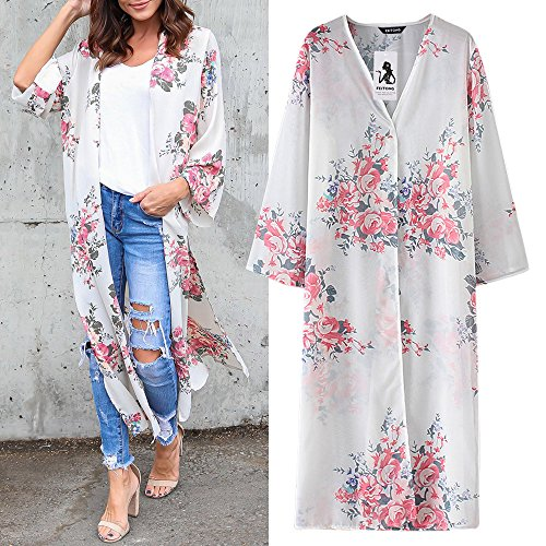 Kleidung Damen DAY.LIN Womens Chiffon Blumendruck Beachwear Kimono Bikini Boho Cardigan Sieben-Punkte-Ärmel Chiffon langen Kimono-Cardigan (M)