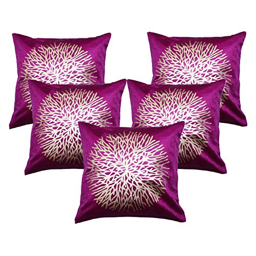 AMAZON GREAT INDIAN FESTIVAL SALE DISCOUNT - Belive-Me Designer Gold Printed Purple Cushion Covers Set of 5 (16x16 Inches / 40x40 cms)
