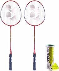 Yonex Badminton Kit Set (Set of 2 Yonex GR303 Badminton Racquet + Mavis 200I Shuttlecock pack of 6)