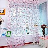 LSAltd 2Pcs Blume Sheer Vorhang, Tulle Behandlung Voile Drape Valance Fenster Vorhang Home Room Decor (200 cm x 100 cm) (Lila)