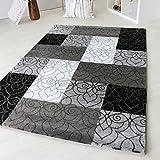 Designer Teppich Modern Kariert Kurzflor Design In Grau Schwarz Weiß und Beige Braun (80 x 300 cm, Schwarz)
