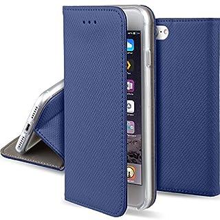 Moozy Hülle Flip Case für iPhone 7 / iPhone 8, Dunkelblau - Dünne magnetische Klapphülle Handyhülle mit Standfunktion
