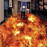 Wandbild Benutzerdefinierte Fototapete 3D Stereoskopische Flamme Brennen Wohnzimmer Badezimmer Boden Wandbild Pvc Selbstklebende Tapete Der Wand 3D-400X280CM
