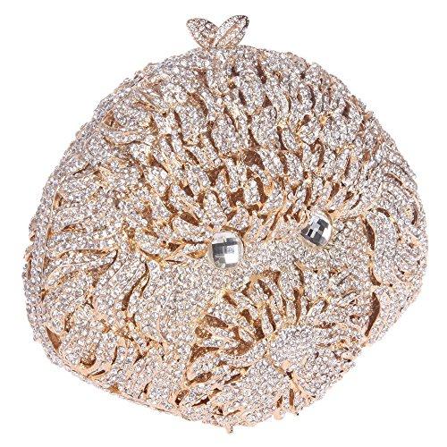 Santimon Clutch Delle Donne 3D Carina Cuccioli Barboncino Bello Diamante Cristallo Borsa Borse Da Festa di Nozze Sera Con Tracolla Amovibile e Pacco Regalo 5 Colori argento