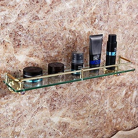YM@YG Moda semplici per ripiani Porte bagno Ripiani in vetro bagno rame antico diamante Dresser , golden