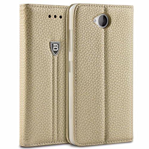 Lumia 650 Hülle, BEZ® Schutzhülle Handyhülle Microsoft Lumia 650 Tasche, Flip Case ausKunstleder Hülle Klappetui mit Kreditkartenhaltern, Ständer, Magnetverschluss - Gold