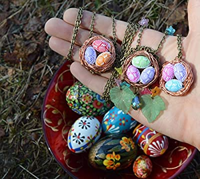 Pendentif oeuf de Pâques - Collier nid d'oiseau avec petits oeufs féeriques/bijoux printemps mignon kawaii/païen ostara eostre - mori girl elfe wicca