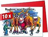 Lustige, humorvolle Weihnachtskarten mit Umschlag im 10er Set, Motiv »Renntier«, für private und geschäftliche Weihnachtsgrüße, als Postkarte oder Geschenkkarte verwendbar, in Größe XL