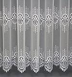"""Maßgeschneiderte weiße Drehersablé Store Gardine """"Plauen"""", hochwertige Stickerei Motive, Spitze, inklusive Kräuselband, Vorhang nach Maß, Gardinen nach Maß, Höhe 90 – 295 cm, Breite 1 –12 Meter (Stoffmuster 25x25 cm)"""