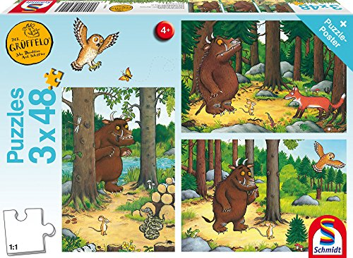 e 56211 The Gruffalo Wer hat Angst vom Grüffelo, 3 x 48 Teile Kinderpuzzle, bunt, vorm ()