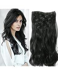 """Neverland 22 """"Full Clip tete dans les extensions de cheveux Ombre Wavy Curly Dip Dye 7 Pcs Naturel Noir"""