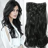 Haarverlängerungen, Neverland 7 Stück 16 Clips in voller Kopf Ombre Curly Wave Dip Dye Haarteile Natural Black