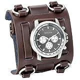 XLORDX Herren Armbanduhr, Analog Quarz, Fashion Elegant Casual Sport Uhr mit Braun Breit Leder Armband & Schwarz Rund Zifferblatt