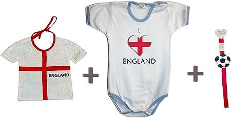 Zigozago–Set WM England bestehend aus Lätzchen + Body + Schnullerband 86