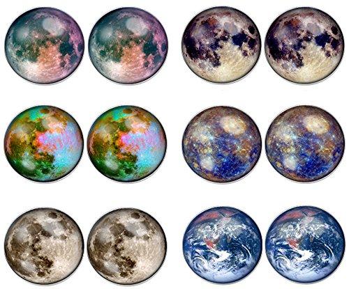6 Paar LilMents Planeten Universum Unisex-Ohrstecker Edelstahl Ohrringe