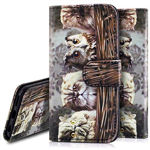 Custodia iPhone 6S 4.7 Cover iPhone 6 4.7,Ukayfe Stitching Colore Flip Case Cover per iPhone 6S 4.7,iPhone 6/6S Lussuosa Astuccio Custodia Cover [PU Leather] [Shock-Absorption] Protettiva Portafoglio  Gattino 2#
