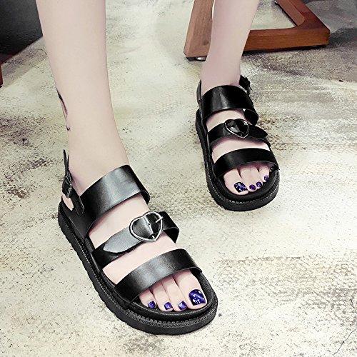 RUGAI-UE Con suole spesse sandali studente fibbia estive scarpe piatte Slip spiaggia scarpe per il tempo libero Black