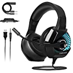 Casque Gaming PS4, ONIKUMA Casque Gamer avec Micro et RGB LED Lampe pour PS4 Xbox One PC Mac Nintendo Switch Smartphone...