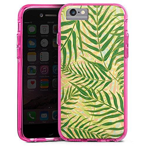 Apple iPhone 6 Plus Bumper Hülle Bumper Case Glitzer Hülle Tropische Tropical Dschungel Bumper Case transparent pink