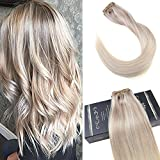 Ugeat #18/22/60 Ash Blonde mit Medium Blonde and Lightest Blonde Nodric Clip in Echthaar Exxtensions 24 Zoll 120g/Set Brasilianisch Tressen Echthaar Clips Extensions