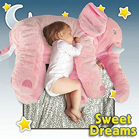Unimall 100% Cotton Elephant Baby Pillow 60 cm Soft Animals Plush Cuddly Elephant Teddy Pillows for Newborn Gifts Children Baby Sleeping Toys, Pink