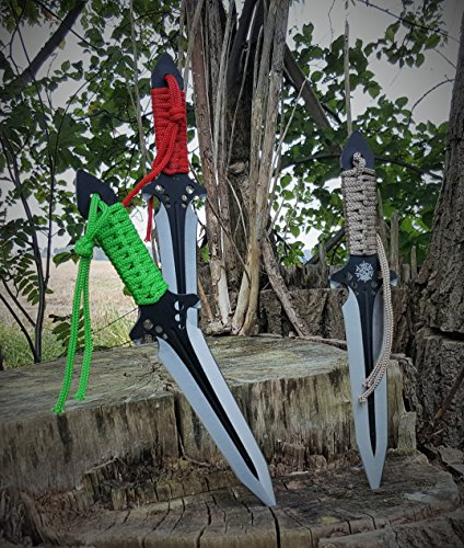3er Wurfmesser Set - Kit Rae Design - Skull Head - Hellhawk Triple Throwing Dagger - Wurfdolch (Fox Kit Rainbow)