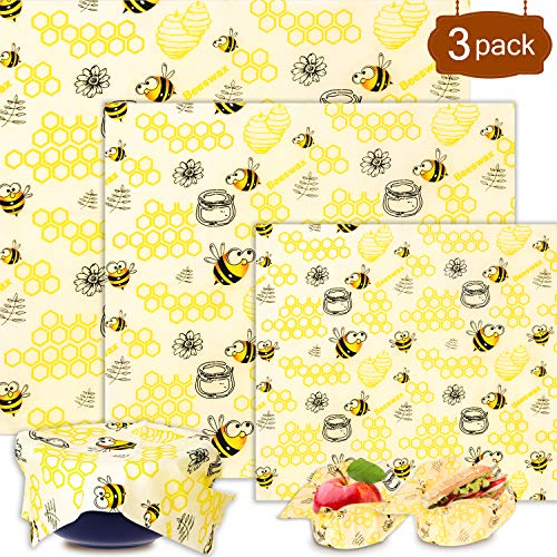 Shayson Lebensmitteln Bienenwachstuch Set 6 Stück, für Lebensmittelkonservierung, Verschiedene Größe, wiederverwendbar, aus natürlichem Bienenwachs und Öko-Tex Baumwolle